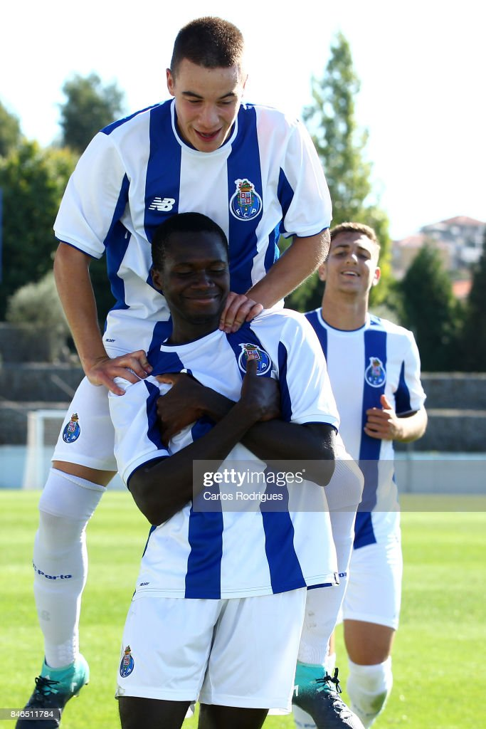 FC Porto forward Madi Queta (front) celebrates scoring Porto's third goal with FC Porto forward Paulo Estrela during the UEFA Youth Champions League match between FFC Porto and Besiktas JK at Centro de Treino do Olival on September 13, 2017 in Porto, Portugal.