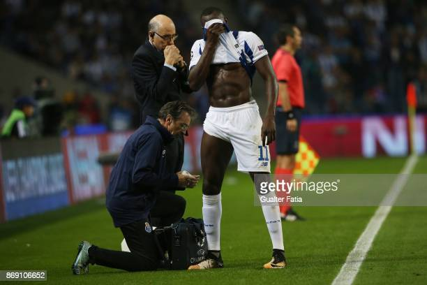 Porto forward Moussa Marega from Mali injured with FC Porto medical staff during the UEFA Champions League match between FC Porto and RB Leipzig at...