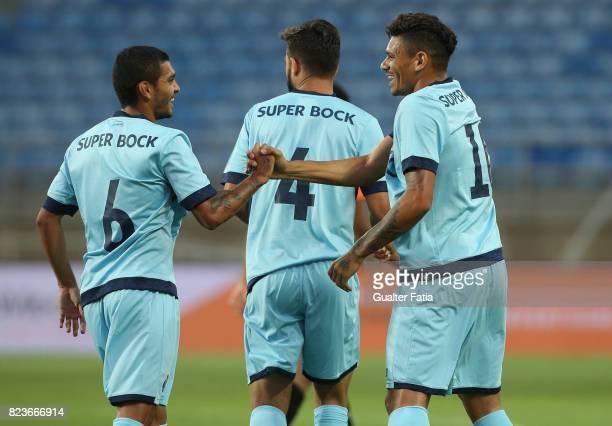 Porto forward Soares from Brazil celebrates with teammate FC Porto forward Jesus Corona from Mexico after scoring a goal during the PreSeason...