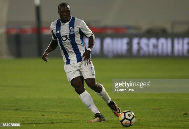 Porto forward Vincent Aboubakar from Camaroes in action during the Portuguese Cup match between Lusitano Ginasio Clube and FC Porto at Estadio do...
