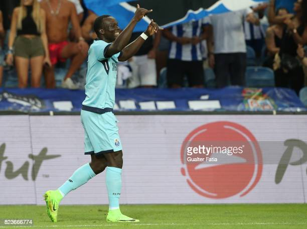 Porto forward Vincent Aboubakar from Cameroon celebrates after scoring a goal during the PreSeason Friendly match between Portimonense SC and FC...