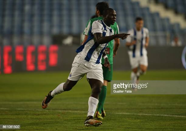 Porto forward Vincent Aboubakar from Cameroon celebrates after scoring a goal during the Portuguese Cup match between Lusitano Ginasio Clube and FC...