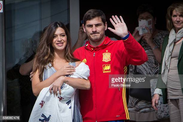 Porto goalkeeper Iker Casillas and Sara Carbonero present their newborn child Lucas at Ruber International Hospital on June 6 2016 in Madrid Spain