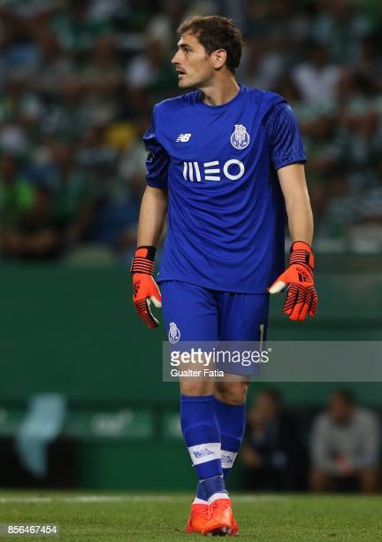 Porto goalkeeper Iker Casillas from Spain in action during the Primeira Liga match between Sporting CP and FC Porto at Estadio Jose Alvalade on...
