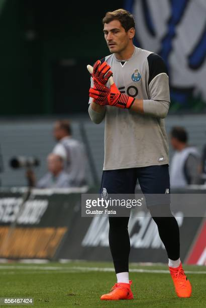 Porto goalkeeper Iker Casillas from Spain in action during warm up before the start of the Primeira Liga match between Sporting CP and FC Porto at...
