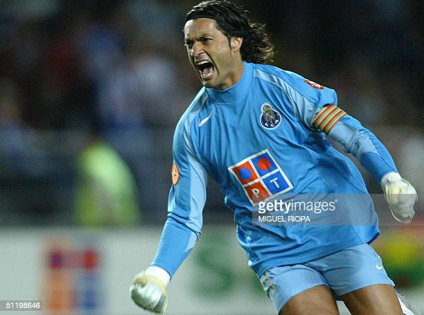 Porto goalkeeper Vitor Baia celebrates after scoring the first goal against SL Benfica's during the Supercup 'Candido de Oliveira' match at Municipal...