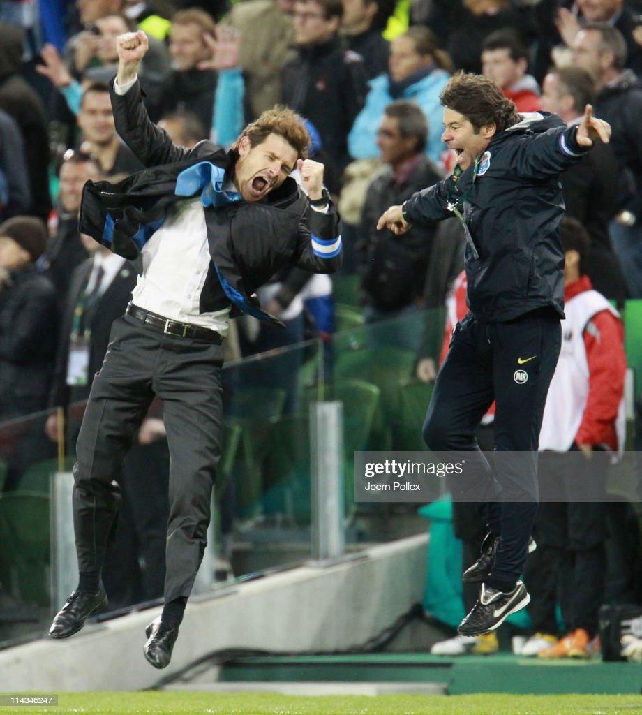 Porto Head Coach Andre Villas Boas and his assistant Jose Mario Rocha celebrate victory during the UEFA Europa League Final between FC Porto and SC...