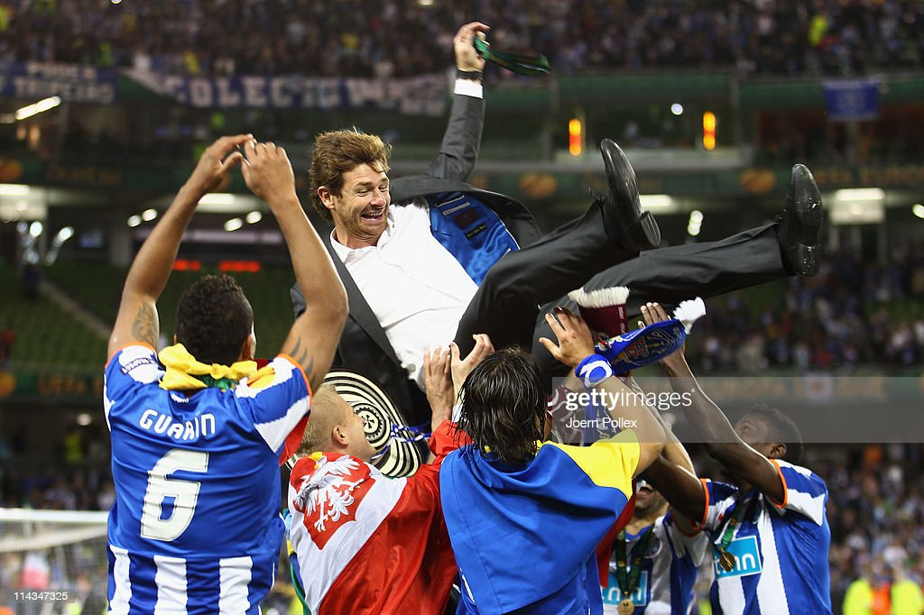 FC Porto Head Coach, Andre Villas Boas is lifted by his team after beating Braga 1-0 in the UEFA Europa League Final between FC Porto and SC Braga at Dublin Arena on May 18, 2011 in Dublin, Ireland.