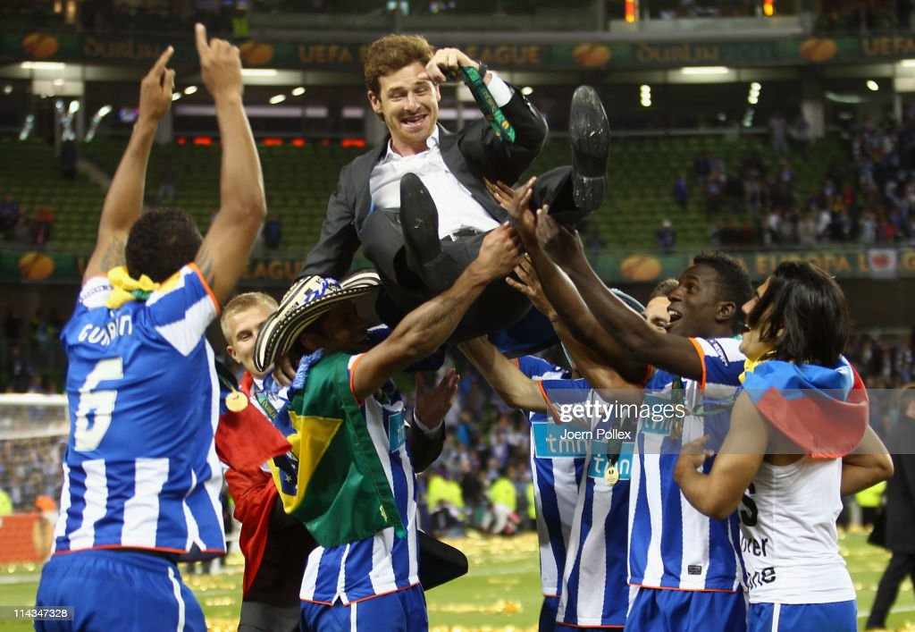 FC Porto Head Coach, <a gi-track='captionPersonalityLinkClicked' href=/galleries/search?phrase=Andre+Villas+Boas+-+Soccer+Coach&family=editorial&specificpeople=7132803 ng-click='$event.stopPropagation()'>Andre Villas Boas</a> is lifted by his team after beating Braga 1-0 in the UEFA Europa League Final between FC Porto and SC Braga at Dublin Arena on May 18, 2011 in Dublin, Ireland.