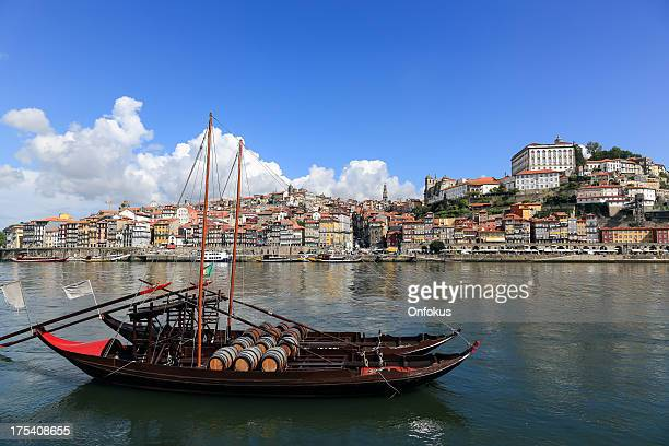 Porto in Morning with Rabelo Boats on Douro River