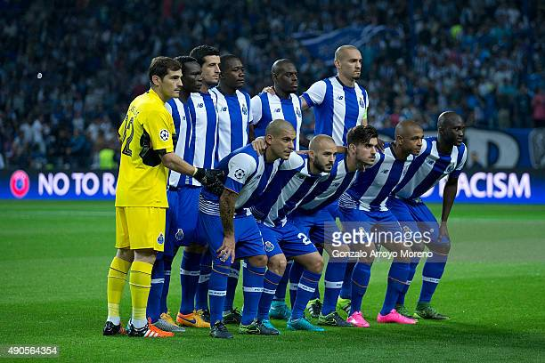 Porto line up prior to start the UEFA Champions League Group G match between FC Porto and Chelsea FC at Estadio do Dragao on September 29 2015 in...