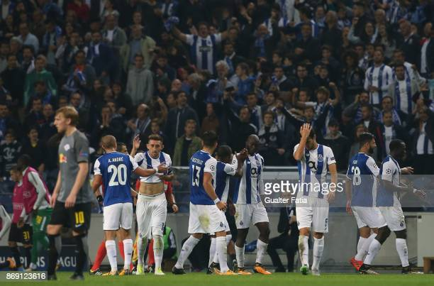 Porto midfielder Danilo Pereira from Portugal celebrates with teammates after scoring a goal during the UEFA Champions League match between FC Porto...