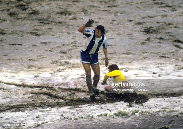 A Porto player protests his innocence as the players struggle in the extreme conditions