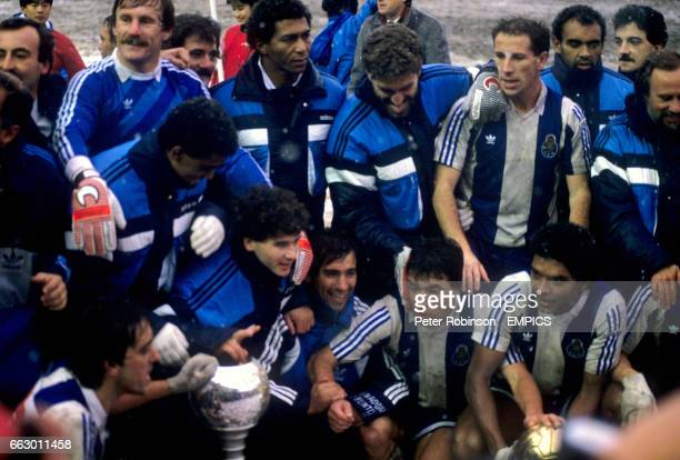 FC Porto players celebrate with the trophy after the match