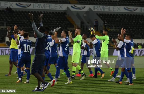 Porto players celebrate with trophy after winning the Algarve Football Cup the PreSeason Friendly match between Vitoria de Guimaraes and FC Porto at...
