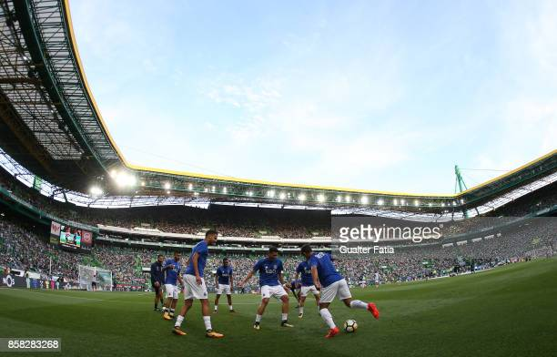 Porto players in action during warm up before the start of the Primeira Liga match between Sporting CP and FC Porto at Estadio Jose Alvalade on...