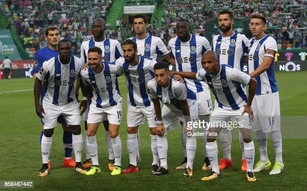 Porto players pose for a team photo before the start of the Primeira Liga match between Sporting CP and FC Porto at Estadio Jose Alvalade on October...