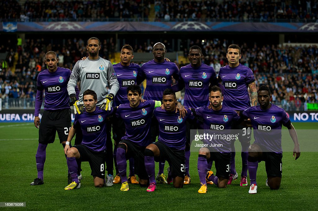 FC Porto players pose for a team picture during the UEFA Champions League Round of 16 second leg match between Malaga CF and FC Porto at La Rosaleda Stadium on March 13, 2013 in Malaga, Spain.