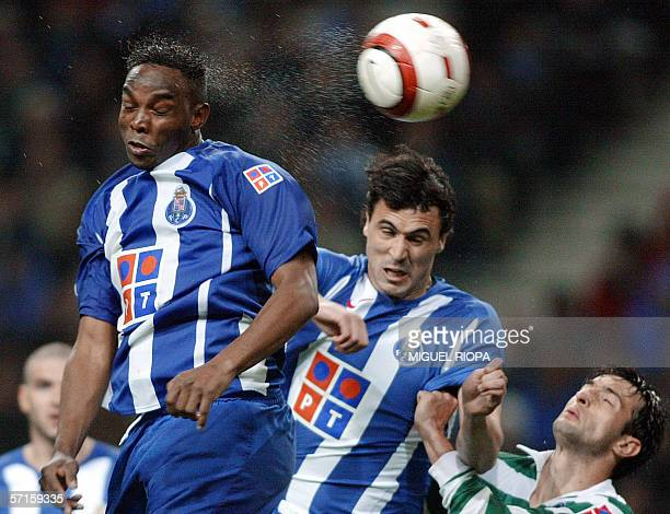 FC Porto's South African Beny McCarthy heads the ball to score against Sporting CP during their Portuguese Cup semifinal football match at Dragao...
