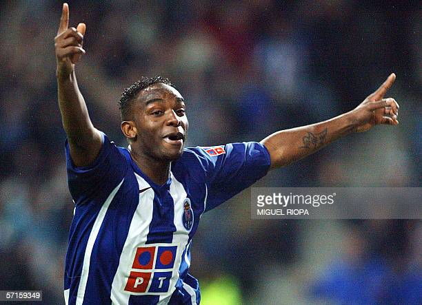 FC Porto's South African player Benny McCarthy celebrates after scoring against Sporting CP during their Portuguese Cup semifinal football match at...