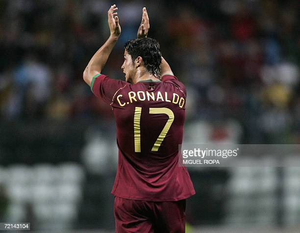 Portugal's Cristiano Ronaldo claps during a Euro 2008 qualifying Group A football match against Azerbaijan at the Bessa Stadium in Porto northern...