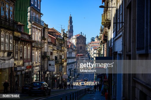 Porto, Rua Clerigos and Clerigos Church : Stock Photo