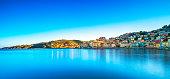 Porto Santo Stefano panoramic view of seafront, italian travel destination. Monte Argentario, Tuscany, Italy.