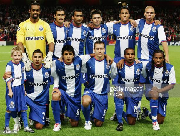 Porto team line up before the UEFA Champions League Group G match between Arsenal and FC Porto at The Emirates Stadium on September 26 2006 in London...