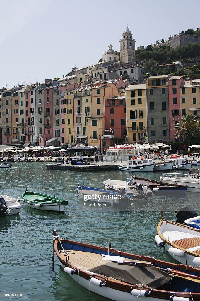 Porto Venere, Liguria, with leisure boats : Stock Photo