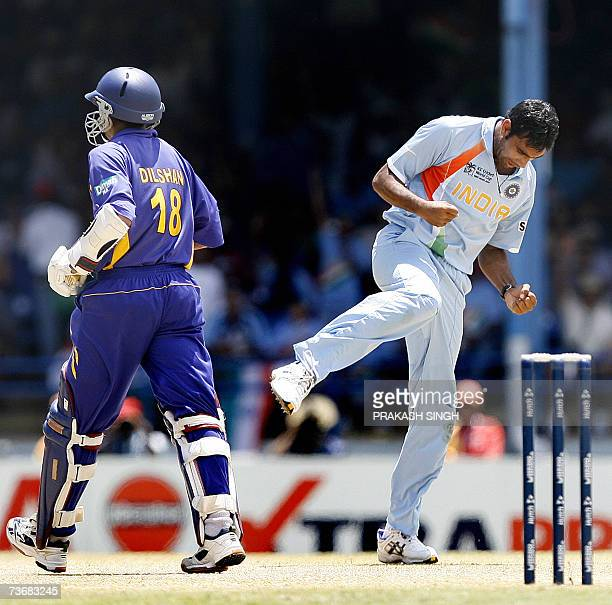 India Cricketer Munaf Patel celebrates the wiket of Sri Lankan Cricketer Tillakaratne Dilshan at the Queen's Park Oval in Port of Spain in Trinidad...