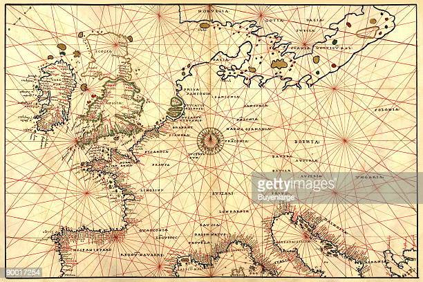 Portolan Map of Spain England France Germany The British Isles Done in 1544 by the Italian cartographer Battista Agnese