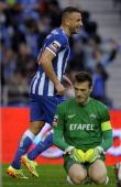 Porto's Algerian forward Nabil Ghilas celebrates after scoring past Academica's goalkeeper Ricardo Nunes during the Portuguese league football match...
