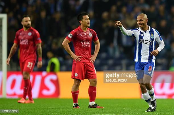 Porto's Algerian forward Yacine Brahimi celebrates after scoring a goal during the UEFA Champions League football match FC Porto vs Leicester City FC...