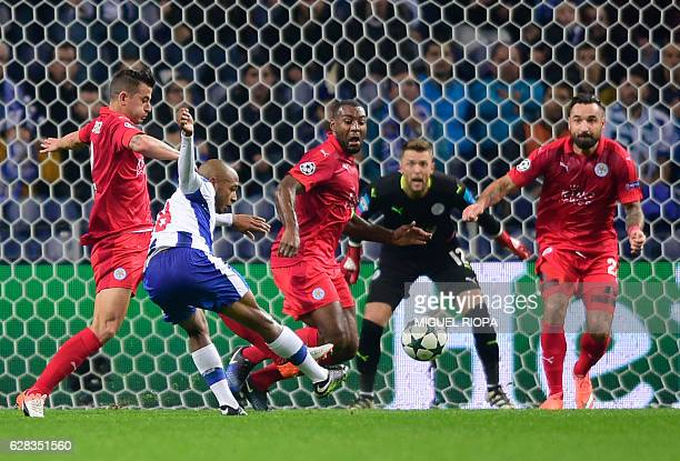 Porto's Algerian forward Yacine Brahimi kicks the ball during the UEFA Champions League football match FC Porto vs Leicester City FC at the Dragao...