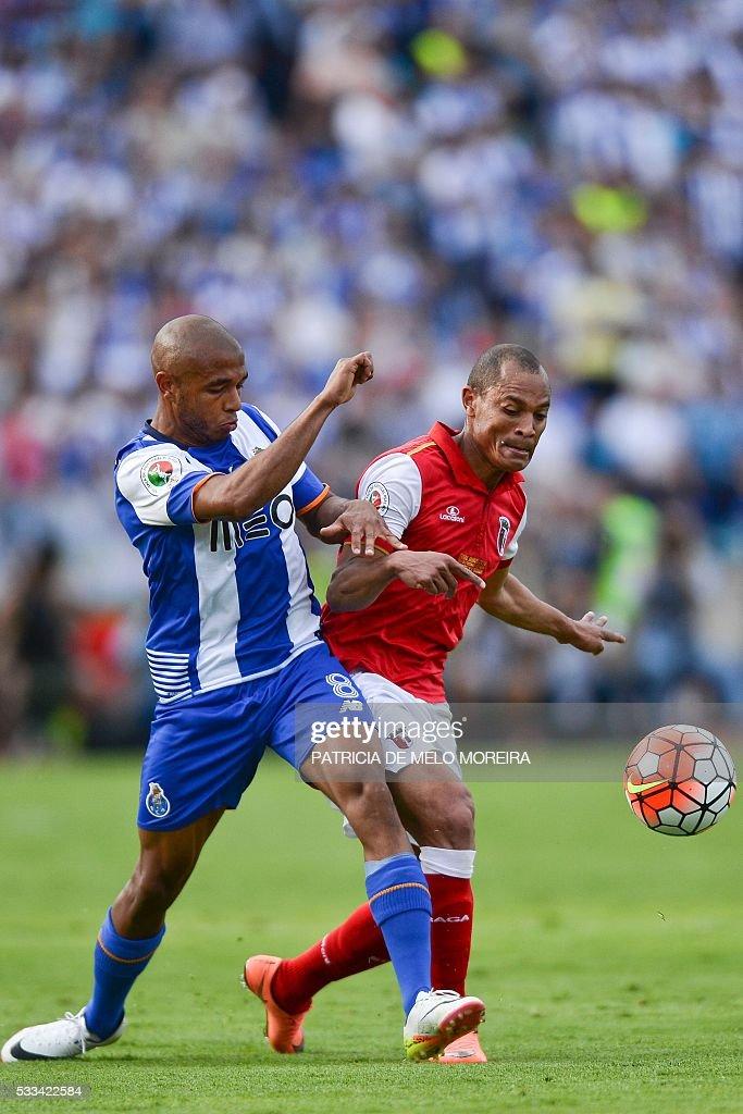 Porto's Algerian forward Yacine Brahimi vies with Braga's Brazilian defender Baiano during the Portuguese Cup final football match FC Porto vs SC...