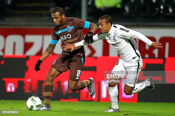 Porto's Algerian forward Yacine Brahimi vies with Vitoria SC's Portuguese defender Bruno Gaspar during the Premier League 2015/16 match between...