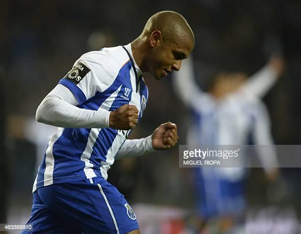 Porto's Algerian midfielder Yacine Brahimi celebrates after scoring a goal during the Portuguese Liga football match FC Porto vs Vitoria de Guimaraes...