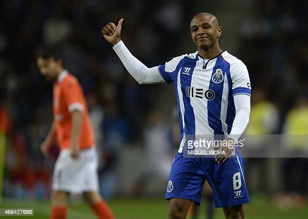 Porto's Algerian midfielder Yacine Brahimi gives a thumbs upduring the Portuguese league football match FC Porto vs FC Arouca at the Dragao stadium...