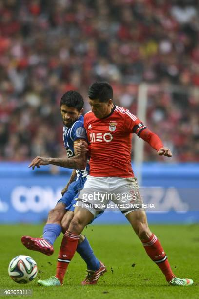 FC Porto's Argentine midfielder Lucho Gonzalez vies with Benfica's Argentine midfielder Enzo Perez during the Portuguese league football match SL...