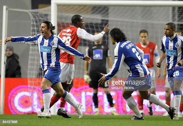 FC Porto's Argentinian Cristian Rodriguez celebrates after scoring against SC Braga during their Portuguese First league football match at the...