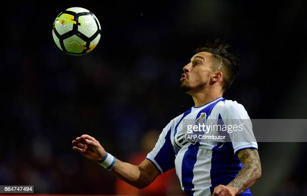 Porto's Brazilian defender Alex Telles controls the ball during the Portuguese league football match FC Porto vs FC Pacos de Ferreira at the Dragao...