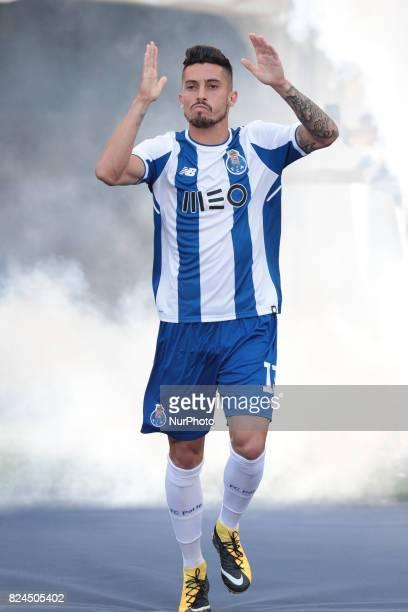 Porto's Brazilian defender Alex Telles during the preseason friendly between FC Porto and Deportivo da Corunha at Dragao Stadium on July 30 2017 in...