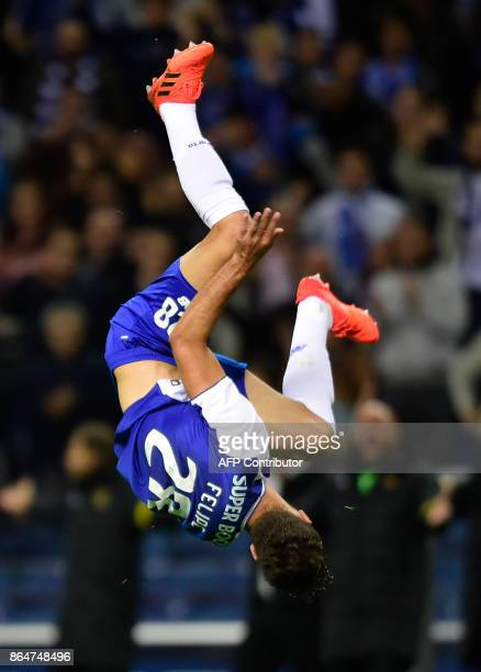 Porto's Brazilian defender Felipe celebrates after scoring a goal during the Portuguese league football match FC Porto vs FC Pacos de Ferreira at the...