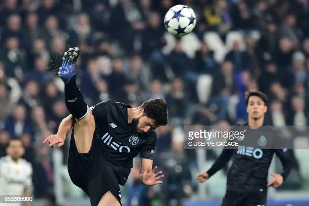 Porto's Brazilian defender Felipe kicks the ball during the UEFA Champions League football match Juventus vs FC Porto on March 14 2017 at the...