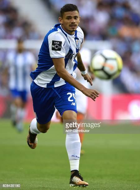 Porto's Brazilian forward Francisco Soares runs for the ball during the Portuguese league football match FC Porto vs Estoril Praia at Dragao stadium...