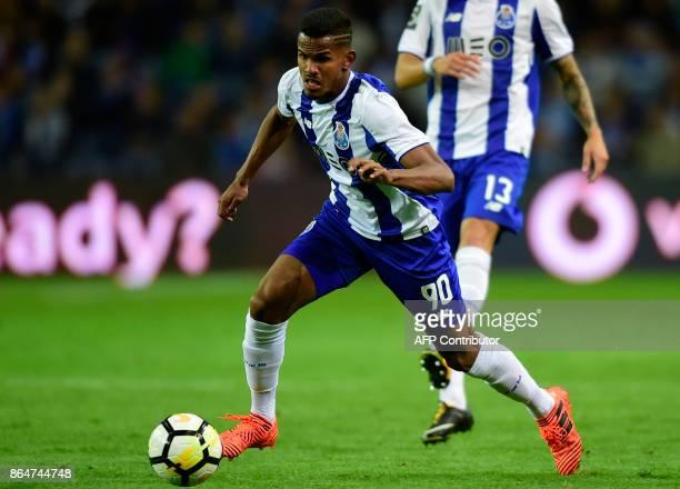 Porto's Brazilian forward Galeno controls the ball during the Portuguese league football match FC Porto vs FC Pacos de Ferreira at the Dragao stadium...