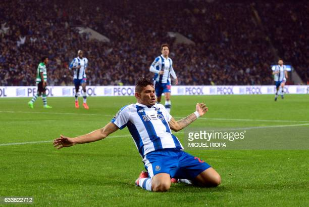 Porto's Brazilian forward Soares celebrates after scoring a goal during the Portuguese league football match FC Porto vs Sporting CP at the Dragao...