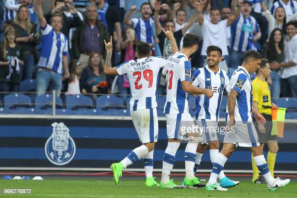 Porto's Brazilian forward Soares celebrates after scoring goal during the Premier League 2016/17 match between FC Porto and Belenenses at Dragao...