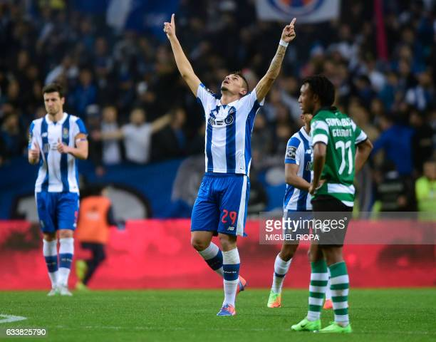 Porto's Brazilian forward Soares celebrates after scoring his second goal during the Portuguese league football match FC Porto vs Sporting CP at the...
