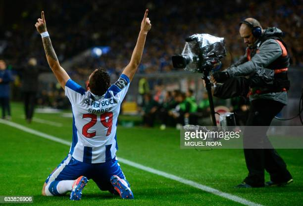 Porto's Brazilian forward Soares celebrates after scoring the opening goal during the Portuguese league football match FC Porto vs Sporting CP at the...